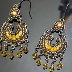 Yellow Iridescence Boho Dangling Earrings